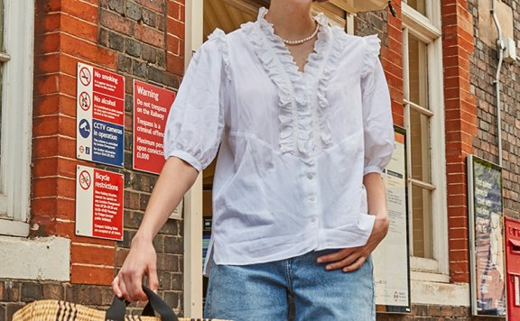 vocavaca 韩国设计师品牌 21夏 法式花边褶皱领中袖衬衫上衣正品