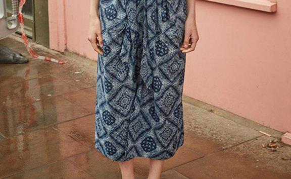 vocavaca 韩国设计师品牌 21夏 波西米亚风系带开叉碎花裙半身裙