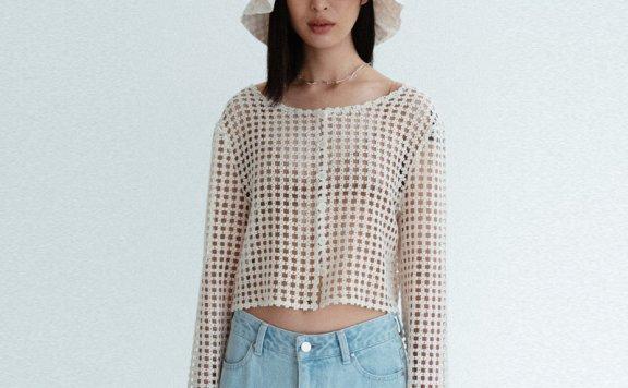 正品AMOMENTO 韩国设计师品牌 21夏 纯棉蕾丝镂空长袖开衫上衣