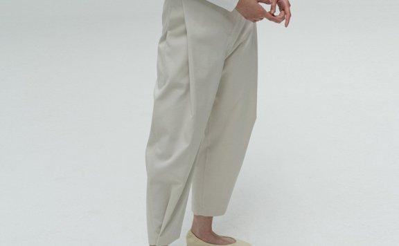 正品代购AMOMENTO 韩国设计师品牌 21夏 棉质宽松可调节裤宽长裤