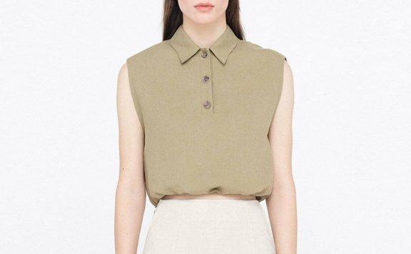 WNDERKAMMER韩国设计师品牌 21夏 小尖领系扣垫肩无袖抽绳衬衫