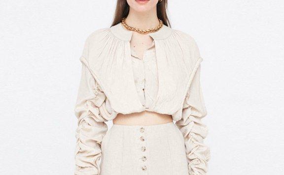 顶楼周锡京同款wnderkammer 韩国设计师品牌 21春款 褶皱短款上衣