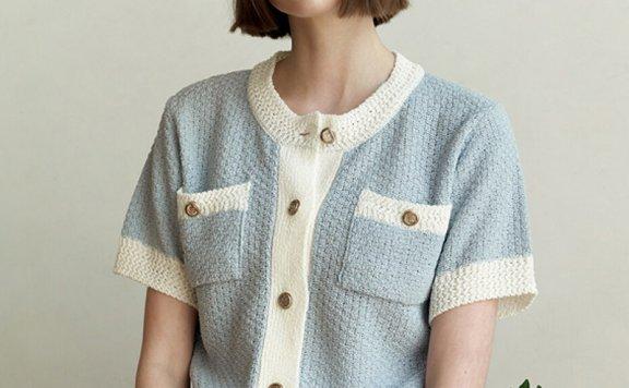 Hackesch韩国设计师品牌 21夏 小香风拼色单排扣短袖针织开衫直邮