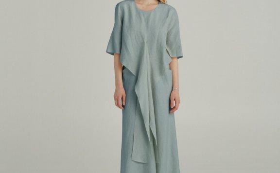 正品代购韩国设计师品牌MUSEE 21夏款不规则波浪层次前开叉连衣裙