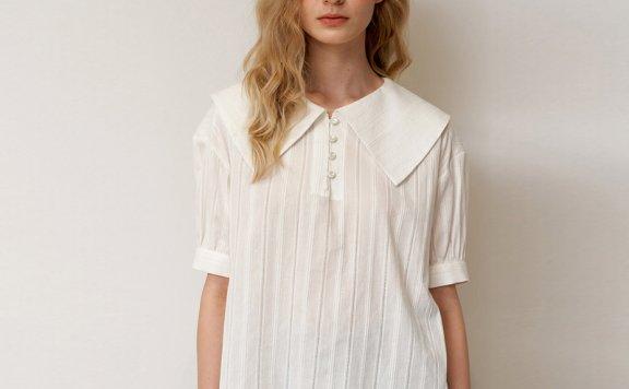 正品代购Hackesch韩国设计师品牌 21夏 白色翻领纽扣条纹衬衫直邮