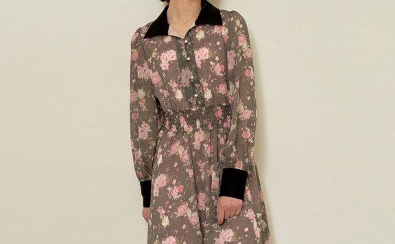 正品代购Hackesch韩国设计师品牌 21夏 翻领松紧腰印花长袖连衣裙