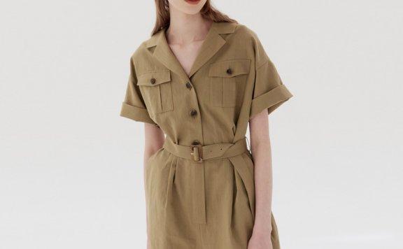AND YOU 韩国设计师品牌 21夏款 橄榄色翻领短袖腰带款连体短裤