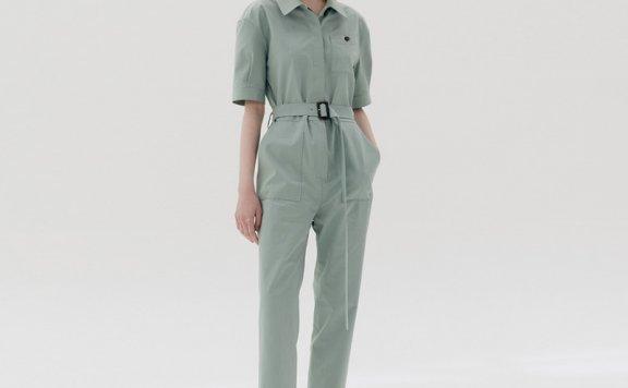 AND YOU 韩国设计师品牌 21春夏 纯棉薄荷色翻领短袖腰带款连体衣
