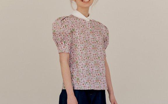 正品代购AND YOU 韩国设计师品牌 21夏款 纯棉泡泡袖碎花短袖衬衫