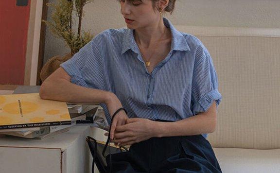 正品韩国设计师品牌 LENINA 21夏 法式百搭翻领卷袖条纹衬衫上衣