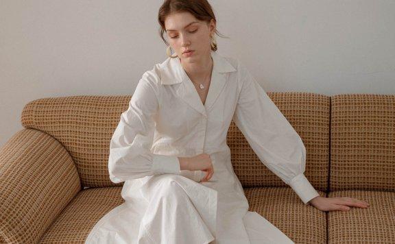 LENINA 韩国设计师品牌 21夏 纯棉翻领灯笼袖不规则衬衫裙连衣裙