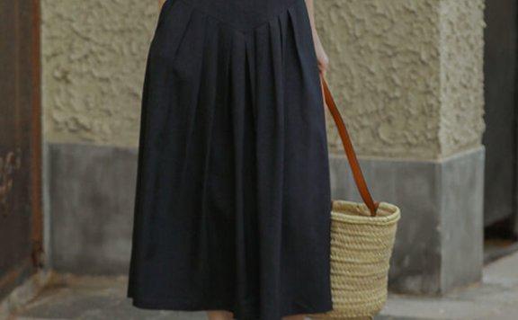 正品LENINA 21夏 韩国设计师品牌 腰部纽扣设计压褶长款半身裙