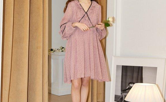 正品代购SALON DE YOHN 韩国设计师品牌 21夏 V领波点雪纺连衣裙