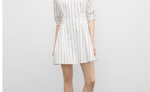 正品代购CLUB MONACO 21夏新款 纯棉竖条纹灯笼袖衬衫连衣裙直邮