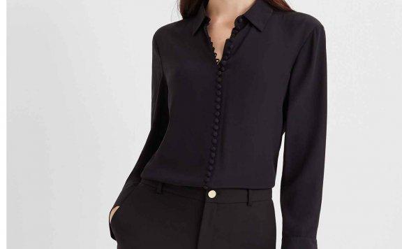 正品代购CLUB MONACO 21春夏新款 维多利亚风真丝女士长袖衬衫