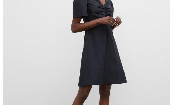正品代购CLUB MONACO 21夏款 V领褶皱收腰短袖连衣裙