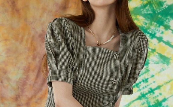 JOORTI 韩国设计师品牌 21春夏 方领格子灯笼袖收腰显瘦短袖衬衫