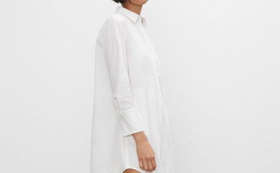 CLUB MONACO 21夏款 纯棉休闲百搭口袋款长袖衬衫连衣裙正品直邮