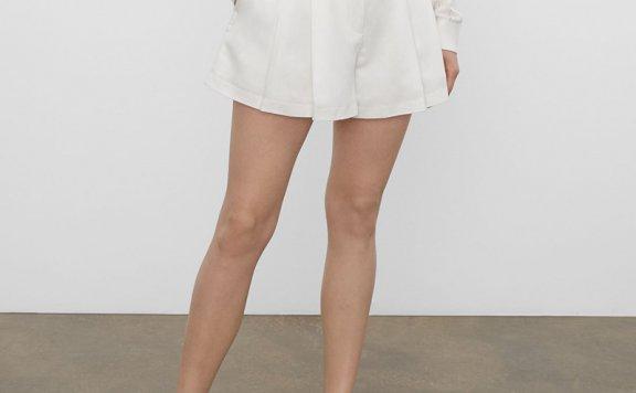正品代购CLUB MONACO 21夏款 纯色简约百搭可拆卸腰带垂褶短裤