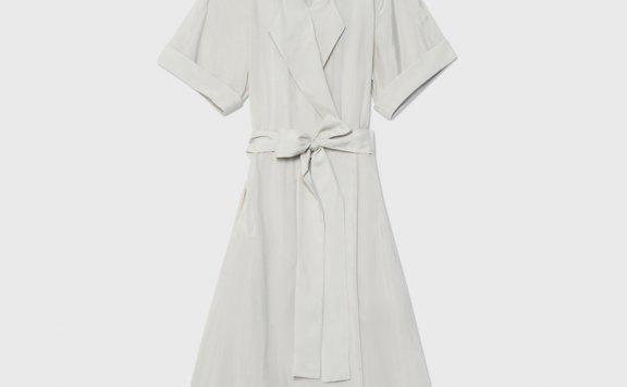 正品代购CLUB MONACO 21夏款 气质西装领系带收腰短袖连衣裙