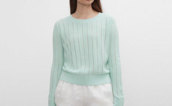 正品代购CLUB MONACO 21夏款 清新圆领条纹薄款镂空针织衫