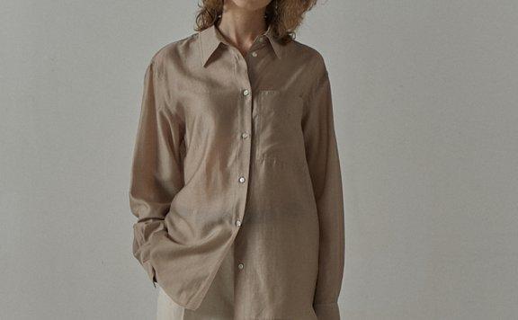 facade pattern 韩国设计师品牌 21夏 天丝垂感百搭款长袖衬衫