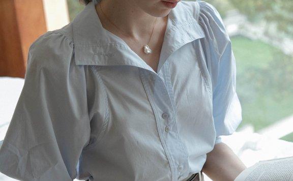 韩国设计师品牌 LENINA 21夏 纯棉娃娃袖单排扣条纹衬衫上衣正品