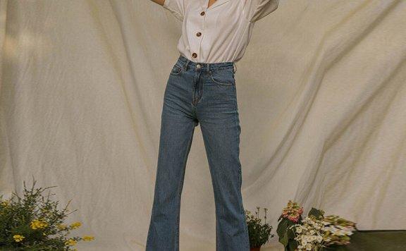 正品LENINA 韩国设计师品牌 21夏 纯棉高腰直筒毛边阔腿牛仔裤