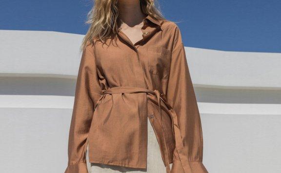 Refined902 韩国设计师品牌 21夏款 腰带款垂感开叉雪纺衫上衣