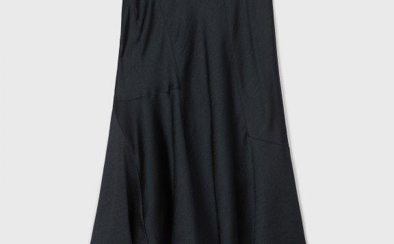 正品代购CLUB MONACO 21夏款 不规则荷叶下摆优雅缎面中长半身裙