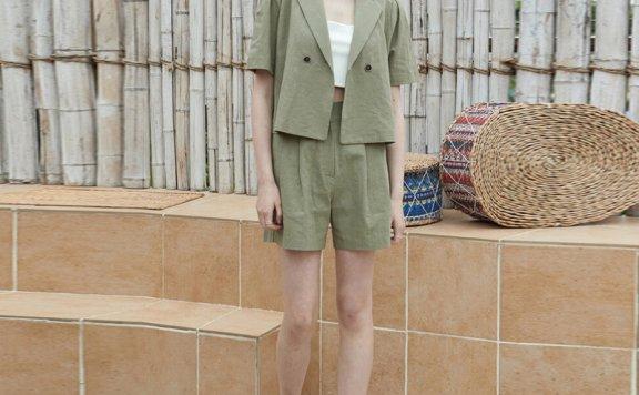 JOORTI 韩国设计师品牌 21夏款 纯色亚麻西装领一粒扣短袖上衣
