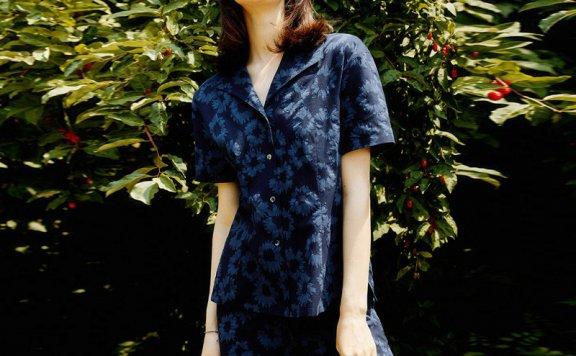 正品LOOKAST 韩国设计师品牌 21夏 印花翻领系扣短袖衬衫短裤套装