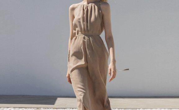 Refined902 韩国设计师品牌 21夏款 挂脖领无袖侧开叉长款连衣裙