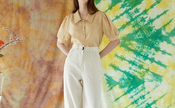 正品代购JOORTI 韩国设计师品牌 21春夏 亚麻高腰阔腿裤休闲裤