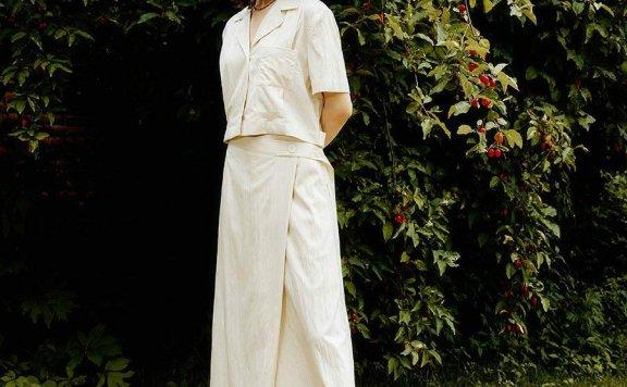 正品代购LOOKAST 韩国设计师品牌 21夏 腰部纽扣款高腰半身裙直邮