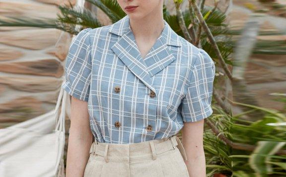 正品JOORTI 韩国设计师品牌 21春夏 亚麻翻领格纹双排扣短袖衬衫