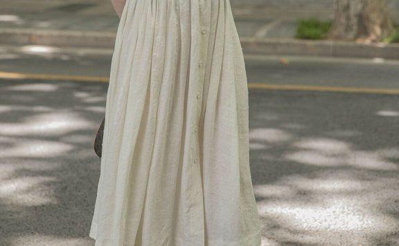 正品LENINA 21夏 韩国设计师品牌 高腰松紧腰单排扣百褶裙半身裙