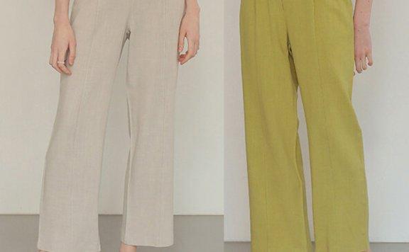 正品代购AMONG 韩国设计师品牌 21夏 通勤百搭亚麻直筒休闲裤直邮
