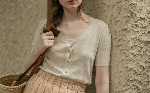 LENINA 21夏 韩国设计师品牌 花边领短袖轻薄短袖针织开衫直邮