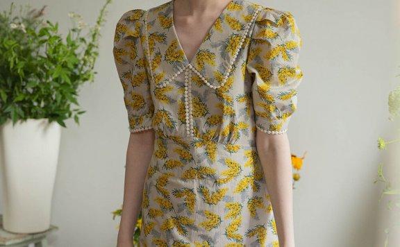 LENINA 21夏 韩国设计师品牌 纯棉满印碎花可爱收腰显瘦连衣裙