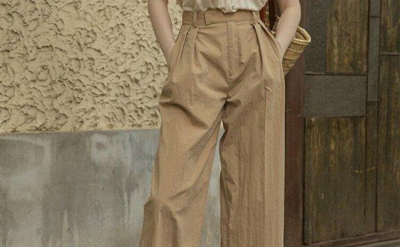 正品代购LENINA 21夏 韩国设计师品牌 纯棉高腰直筒休闲裤九分裤