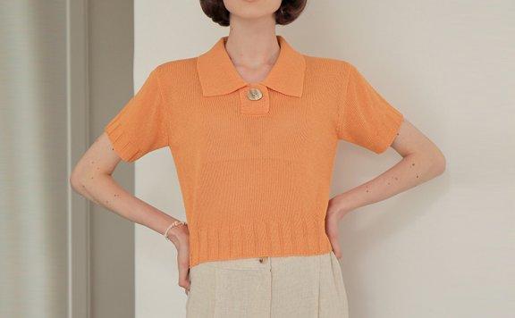 正品代购AMONG 韩国设计师品牌 21夏 小清新polo领短袖针织衫直邮