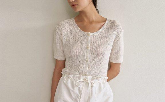 正品代购LO61 韩国设计师品牌 21夏 圆领轻薄短袖针织开衫直邮