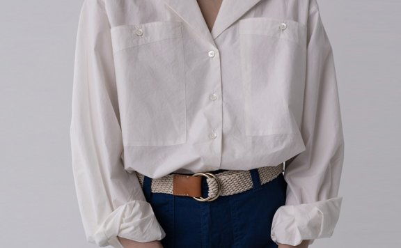 韩国设计师品牌 urbanic30 21夏 纯棉经典大口袋长袖衬衫正品直邮