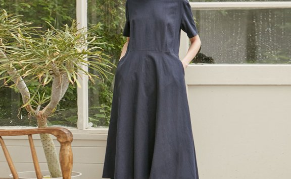 正品代购NONLOCAL 韩国设计师品牌 21夏 亚麻圆领喇叭形连衣裙