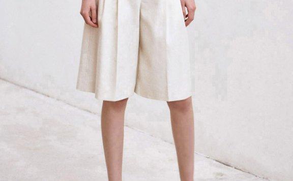 正品代购AVA MOLLI 21春夏 韩国设计师品牌 亚麻宽松直筒裤五分裤