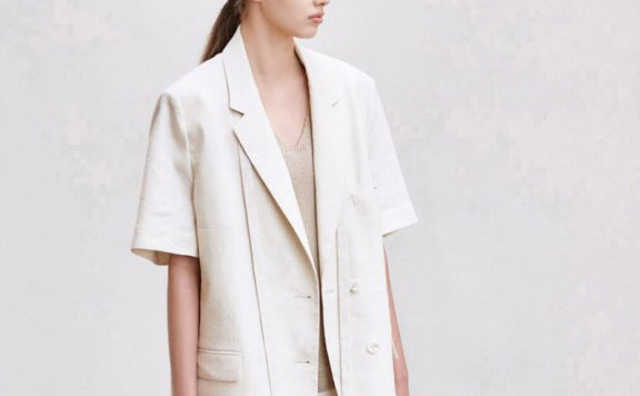 AVA MOLLI 21春夏 韩国设计师品牌 亚麻翻领宽松短袖西装外套正品