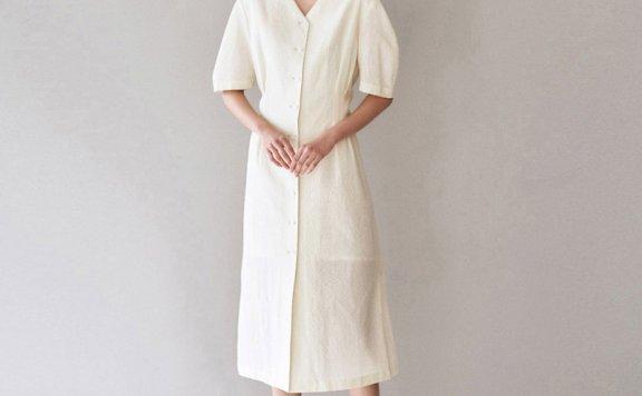 AVA MOLLI 韩国设计师品牌 21春夏 法式V领泡泡袖连衣裙正品直邮