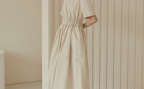 正品代购RE_L 21夏 韩国设计师品牌 基础款圆领松紧腰连衣裙直邮