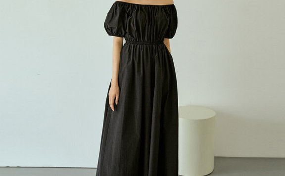 RE_L 21夏 韩国设计师品牌 法式两穿一字肩松紧领连体衣连体裤